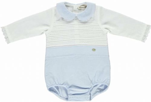 Piccola Speranza Baby Blue & Ivory Shortie With Edged Cuffs
